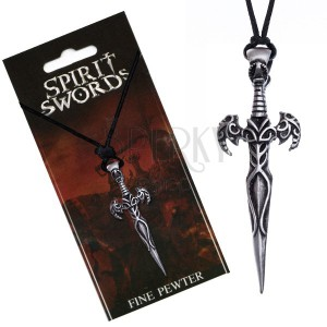 Náhrdelník na šňůrce, přívěsek, meč zdobený ornamenty