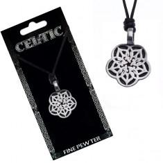 Náhrdelník se šňůrkou - černý, kovový přívěsek, keltský květ Y51.17