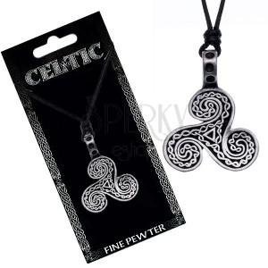 Černý náhrdelník - šňůrka, keltské vlny