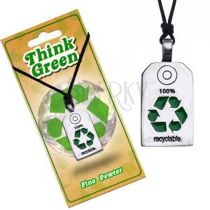 EKO náhrdelník - lesklá známka se symbolem recyklace