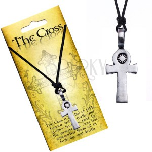 Černý šňůrkový náhrdelník, přívěsek, kříž se sluncem