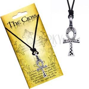 Černý náhrdelník - egyptský kříž s vyrytými liniemi