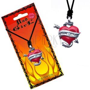 Šňůrkový náhrdelník - barevné srdce a šíp, stuha TRUE LOVE