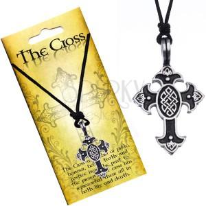 Náhrdelník na šňůrce, přívěsek - kříž s keltským uzlem