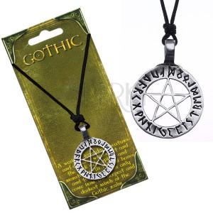 Náhrdelník se šňůrkou - magický pentagram s runami v kruhu