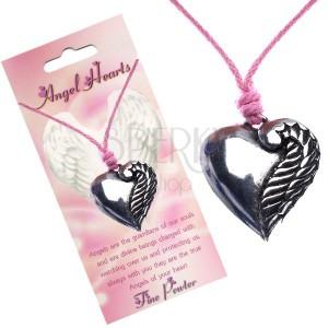 Růžový náhrdelník, stříbřité srdce s jedním křídlem