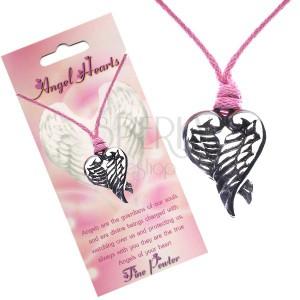 Růžový náhrdelník - přívěsek srdce z překřížených křídel