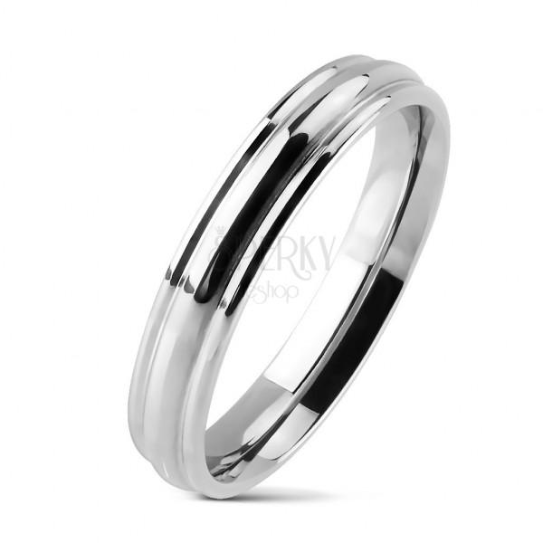 Prsten z chirurgické oceli s oblým středovým pruhem, lesklý
