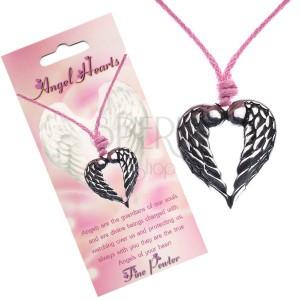 Šňůrkový náhrdelník, přívěsek srdce s dotýkajícími se křídly