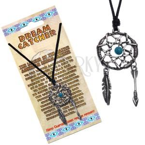 Černý náhrdelník, kruhový lapač snů, modrý korálek uprostřed