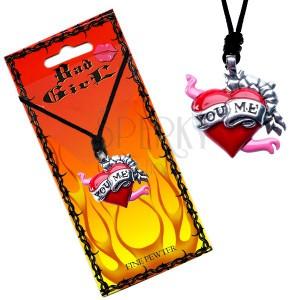 """Šňůrkový náhrdelník, přívěsek srdce s květy a stuhou """"You Me"""""""