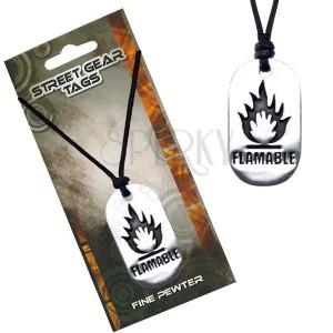 Černý náhrdelník, kovová lesklá známka, symbol hořlaviny