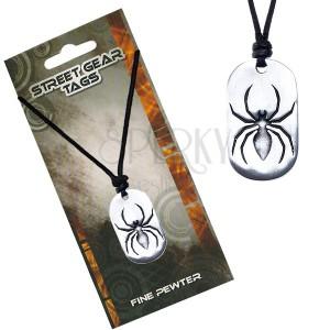 Náhrdelník se šňůrkou, kovový přívěsek pavouka