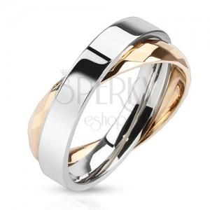 Dvojitý prsten z oceli - kroužky měděné a stříbrné barvy