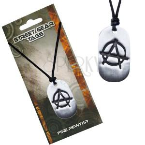 Černý náhrdelník, lesklá kovová známka, symbol anarchie
