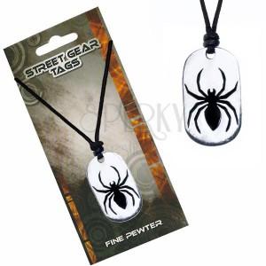 Náhrdelník na šňůrce, kovový přívěsek pavouka