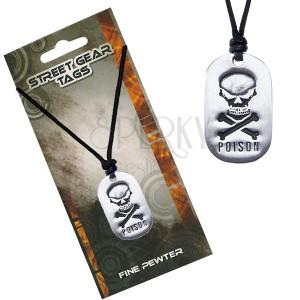 Černý šňůrkový náhrdelník s přívěskem lebky a nápisem