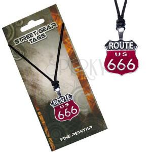 Černočervený náhrdelník na šňůrce, značka Route 666