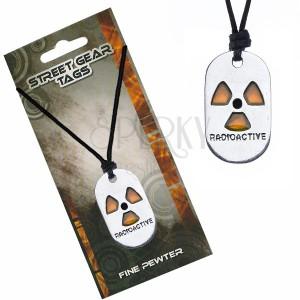 Náhrdelník na šňůrce, černý, symbol radioaktivity
