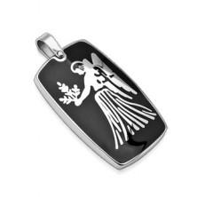 Ocelový přívěsek s černým pozadím - zvěrokruh znamení Panna