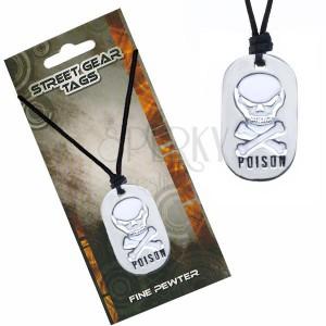 Černý náhrdelník na šňůrce – bílá lebka, nápis Poison