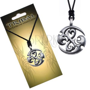 Černý náhrdelník, TRIBAL přívěsek - kruh s dračími spirálami