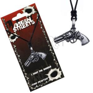 Černý náhrdelník na šňůrce – přívěsek, revolver
