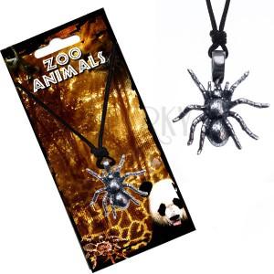 Náhrdelník se šňůrkou, kovový přívěsek tarantule