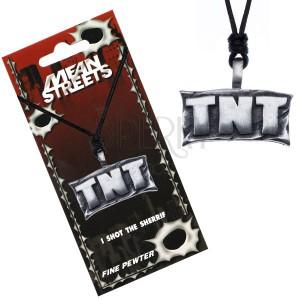 """Šňůrkový náhrdelník, kovový přívěsek - tabule s nápisem """"TNT"""""""