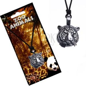Šňůrkový náhrdelník, kovový přívěsek, hlava tygra