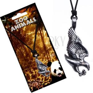 Šňůrkový náhrdelník černý, kovový přívěsek, orel
