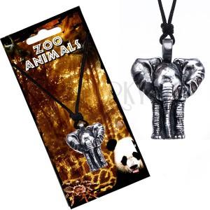 Náhrdelník na šňůrce, patinovaný přívěsek slona