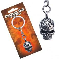 Přívěsek na klíče kovový, lebka s vyrytými ornamenty AA48.16