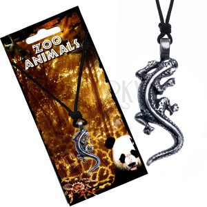 Černý šňůrkový náhrdelník s přívěskem lezoucí ještěrky