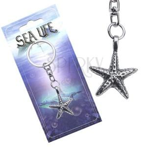 Stříbřitý přívěsek na klíče, kovová mořská hvězdice