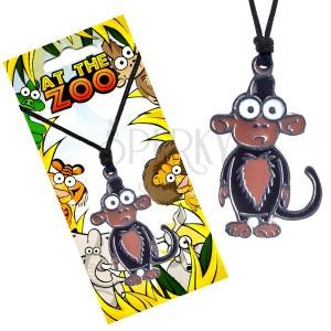 Náhrdelník na šňůrce, trojbarevný přívěsek opice