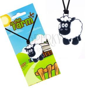 Šňůrkový náhrdelník s přívěskem, čirno-bílá ovečka