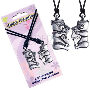 BEST FRIENDS šňůrkové náhrdelníky, méďové, srdce