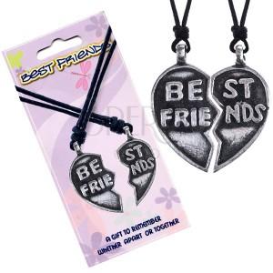 """Náhrdelníky BEST FRIENDS – rozpůlené srdce, text """"Best Friends"""""""