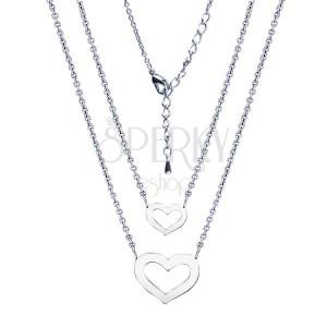 Dvojitý lesklý náhrdelník, rhodiovaný, srdce dvou velikostí