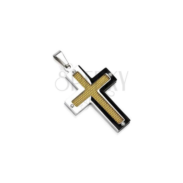 Ocelový kříž se zlatou síťkou a nýty