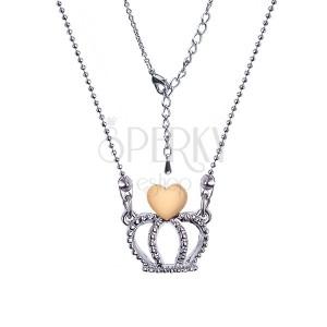Lesklý kuličkový náhrdelník s korunkou a srdcem