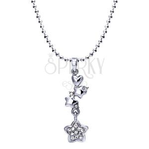 Rhodiovaný náhrdelník - lesklé kuličky, srdce, hvězdy se zirkony