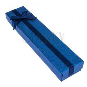 Modrá krabička na náramek se čtverečkovým vzorem, mašle