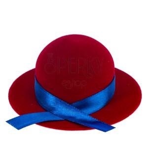 Sametová krabička na prsten nebo náušnice - červený klobouk