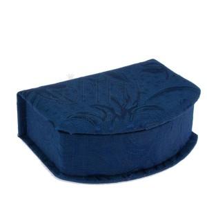 Modrá škatulka na šperky - látkový potah, motiv lesklých květů