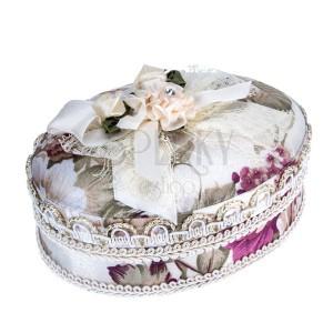 Béžová šperkovnice s kyticí květů a mašlí, květový motiv