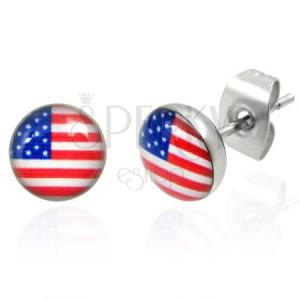 Ocelové náušnice - americká vlajka