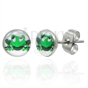 Náušnice z oceli, zelená usměvavá žába