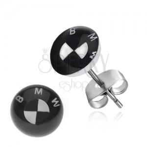 Ocelové náušnice BMW logo